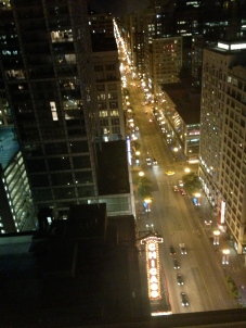 Nighttime over the Chicago Theater